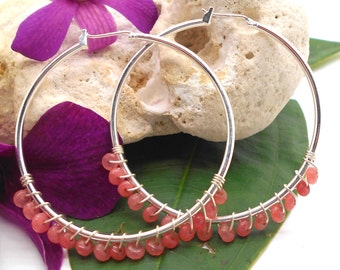 Hoop Earrings, Wire Wrapped Cherry Quartz and Silver Hoop Earrings - Silver Hoop Earrings, Gemstone Earrings, Quartz