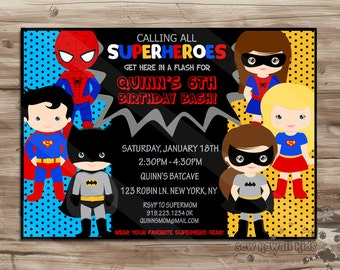 SUPERHERO Invite, Superhero Invite Boys Girls superhero invitation invite Superhero Invite Superhero Invitation Digital Printable: JPG File