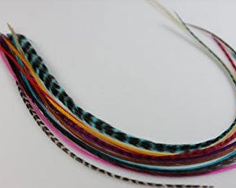 8 Feathers Happy Rainbow Mix Feather Extensions Bonded Bundle XL Natural Summer Salon Feathers For Hair 7-11""