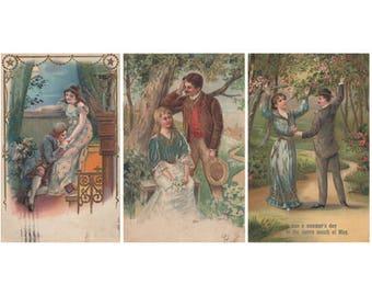 Vintage Romance German Postcards 1909 Digital Download