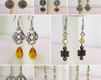 1 for 11.99- 3 for 8.32 a piece, Celtic Knot, Scottish, Dragonfly and Amber, Swarovski Crystal Earrings