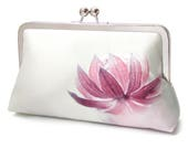 Pink flower clutch bag, silk purse, blossom petals, contemporary flower clutch, pink astrantia
