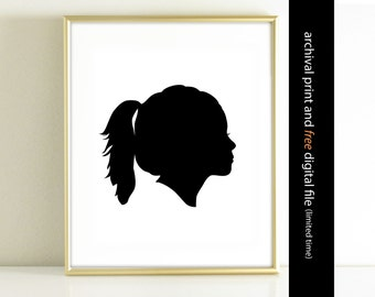 Face home decor, Custom Silhouette Art Print made from your photo, Children's Silhouette Print, Custom Face Silhouette Childrens Wall Art