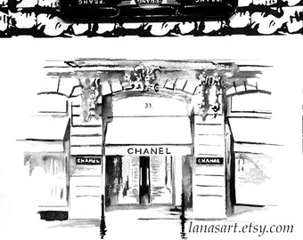 Chanel  House in Paris Watercolor Illustration - Print of Parisian Architecture - Lana Moes Fashion Illustration - Rue Cambon Watercolor