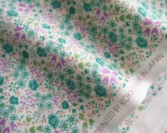 Japanese cotton fabric KOKKA floral fleurette green and white 110 * 50 cm