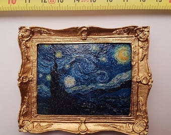 Van Gogh framed painting Starry Night - for 1:12 dollhouse