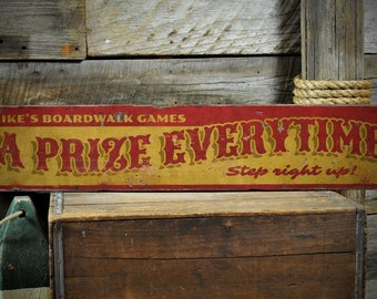 A Prize Everytime Wood Sign, Custom Name Boardwalk Games Step Right Up Sign, Beach Decor - Rustic Hand Made Vintage Wooden Sign ENS1001354