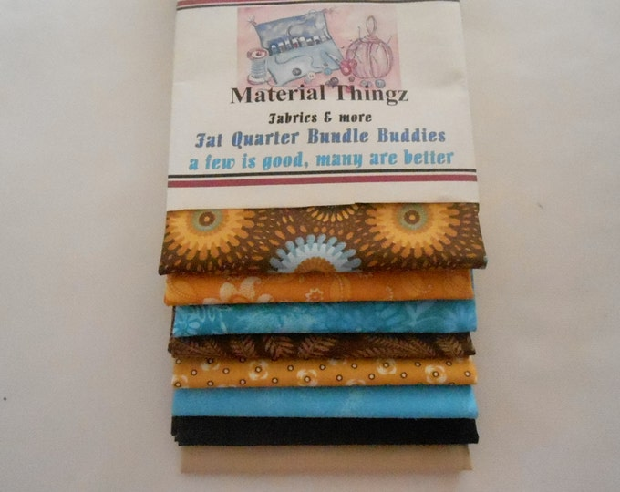Fat Quarter Bundle Buddies in Blues, Golds and Browns
