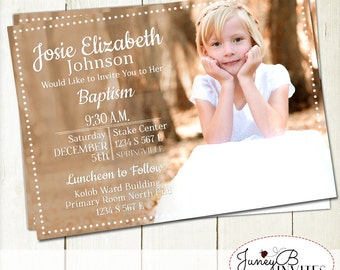 Fun Girl Baptism Picture Invitation Printable, Full Picture Invite, LDS Baptism Invitation
