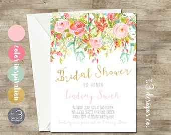 Whimsical Bridal Shower Invitation, peony bridal shower invite, bridal shower, floral bridal, watercolor bridal shower invitation, gold pink