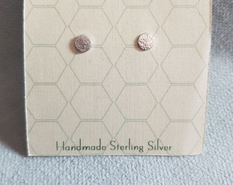 Tiny Simple Sterling Silver Round Lace Textured Stud Earrings