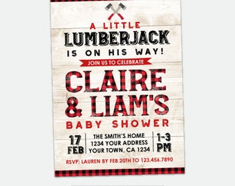 Lumberjack Baby Shower Invitation, Plaid Baby Shower Invitation, Boy Baby Shower, Woodland Baby Shower Invite, Personalized Digital Invite