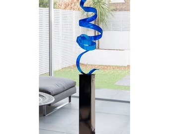 Blue Modern Metal Sculpture Art, Indoor Outdoor Abstract Metal Decor, Large Reflective Garden Statue - Blue Perfect Moment 24 by Jon Allen