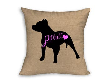 "Pink Pitbull Pillow Cover, Pillow Cover, Pitbull Pillow Cover, 18"" x 18"" Zip Pillow Cover"