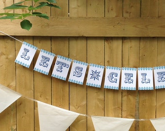 Let's Celebrate Paper Garland Party Banner, fun party decoration, wedding decor, birthday banner, graduation banner, party signage