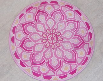 "Silk mandala, lotus flower, 6""Ø, for meditation, picture, yoga, relaxation"