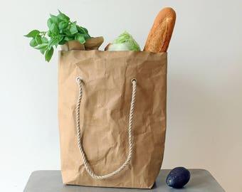 Grocery bag, Paper tote bag, washable paper bag, brown kraft paper bag, original tote bag, shopping, market bag, vegan, eco, green living