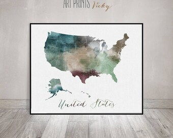 United States Map Etsy - Interactive Motorcycle Map Of The Us