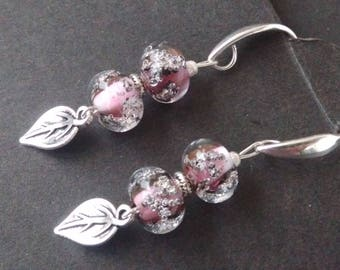 Bubble glass beads - pink and silver
