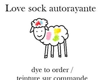 LOVE SOCK self striping sock yarn, Dye to order, merino nylon, 100g
