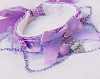 MADE TO ORDER: Pastel Lavender Luxury Rhinestones and Chain Baby Doll Cutie Collar