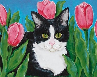 Custom Cat Painting - Original Cat Art made for you - Cat Art - Cat Portrait Art ~ Cat Folk Art - Custom Made Cat Art - Pet Portrait