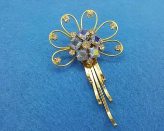 Gold Filled Pendant Brooch Blue Shimmer trembler Mid century Modern