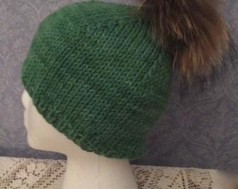 Apple Green Wool Angora Cap with Fur Pom-Pom