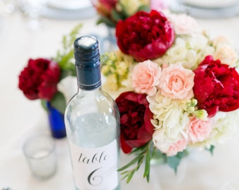 Table Number Wine Bottle Labels \\ Calligraphy Style