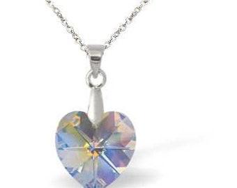 Swarovski Crystal Heart Necklace - Aurora Borealis