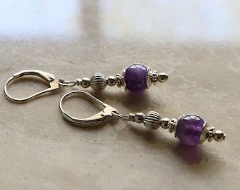 Amethyst - Gemstone Bead - Sterling Silver - Lever Back - Boho - Earrings - February Birthstone