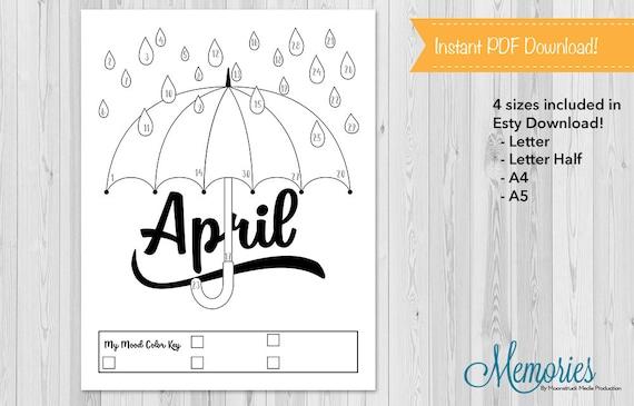 april mood tracker bullet journal mood chart rain umbrella