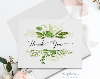 Folded Thank You Note Cards - Botanical Greenery-6