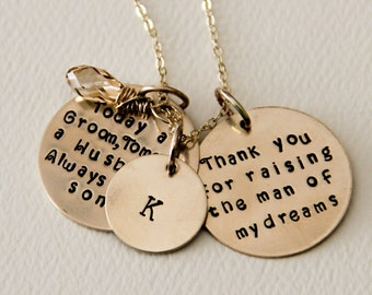 Gift For Grooms Mother Necklace Gold , Today a Groom Tomorrow a Husband Always Your Son, Gift For Men's Mother, Necklace For Woman GOld