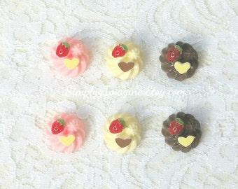 Whipped Cream Dallop Heart Strawberry Dessert Food Cabochon Resin Flatback - 6 PCS