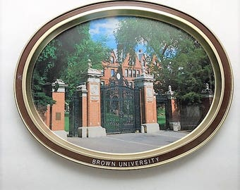 Vintage Brown University Oval Metal Tray Image of Historic Van Wickle Wrought Iron Gates Gift for Grad or Alumni