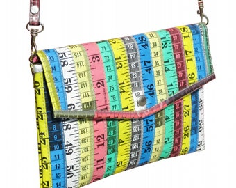 Envelop clutch made from measuring tapes, FREE SHIPPING, vegan purse, eco-friendly shoulder bag, gift for design art student, knitter sewer