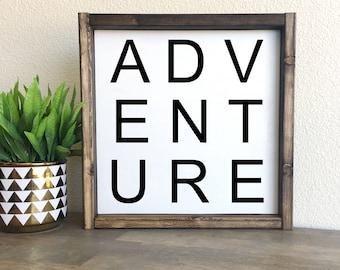 Adventure | framed wood sign