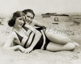 Vintage Pin Up Two 1920s BEACH GIRLS Nautical Home Decor Risque Vintage Postcard Retro Wall Art Burlesque Photography Pinup Photo