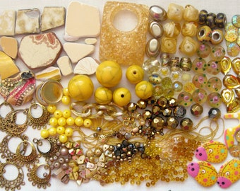 Yellow Mosaic Pieces Over 400Pc Mix | Golden Yellow Beads | Yellow Ceramic Tile | Beach Pottery | Earring Findings | Multimedia Craft Pieces