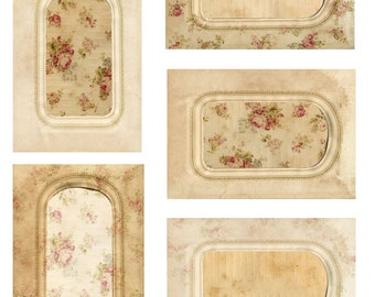 INSTANT DOWNLOAD DIGITAL Cabinet Card and Roses Variations Tags Collage Sheet U Print Tags