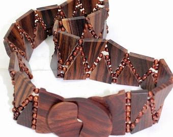 Brown wood color Elastic Wooden Bead Belt,  Handmade Elastic Belt With Natural Wood Buckle, amazing colors, boho