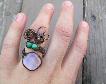 Adjustable Opalite Magnesite Copper Wire Wrapped Ring