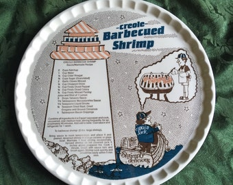 Royal China Creole Barbecued Shrimp Recipe Plate, Platter - 1980s