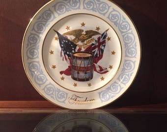 Vintage, Wedgwood LTD, England, collector plate, 1974 Freedom plate, Red, White and Blue, made for Avon Inc., made in Tunstall England.