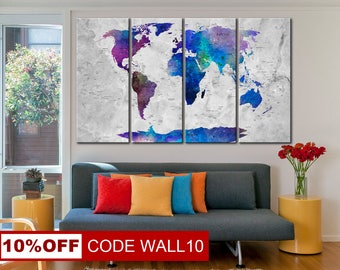 World Map Art Canvas, Large world map, World Map, World Map Poster, World Map Print, Map Art, World Map Art, World Map Canvas, Wall Art Set