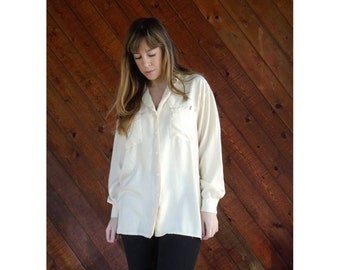 Cream Silk Button Down Shirt Blouse - Vintage - MEDIUM