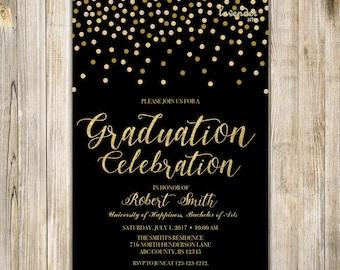 Black Gold GRADUATION CELEBRATION Invite, Glitter Graduation Party Invitation, High School College University Grad, Class of 2017 Grad Party