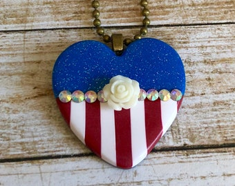 4th of July Necklace, Heart Shaped Red White and Blue Patriotic Pendant, Independence Day, polymer clay, resin flower, rhinestones, jewelry