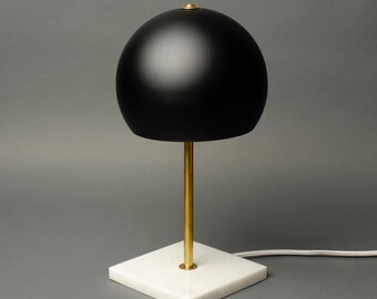Matte black and brass marble desk lamp